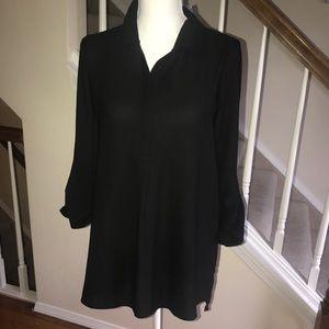 Pleione black tab sleeve popover blouse size S NWT
